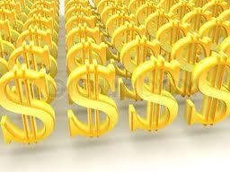 rows of golden-coloured dollar signs indicating wealth abounds