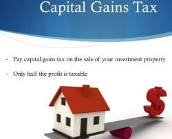 slide showing house value exceeding tax costs and explaining CGT calculation for investment success