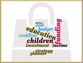 a wrod puzzle set on a document case featuring words related to funding education costs for children
