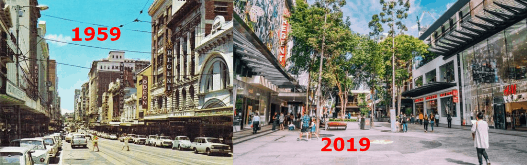 queen street brisbane 1959 and 2019 showing the potential for economic and markets outlook 2020